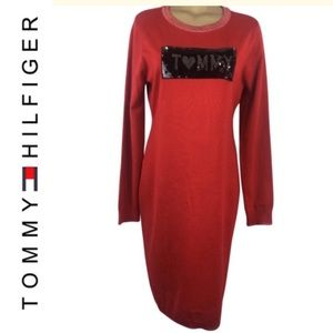 Tommy Hilfiger red long-sleeve logo Dress 12